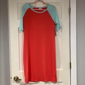 LuLaRoe red and light green Julia dress xXL NWT